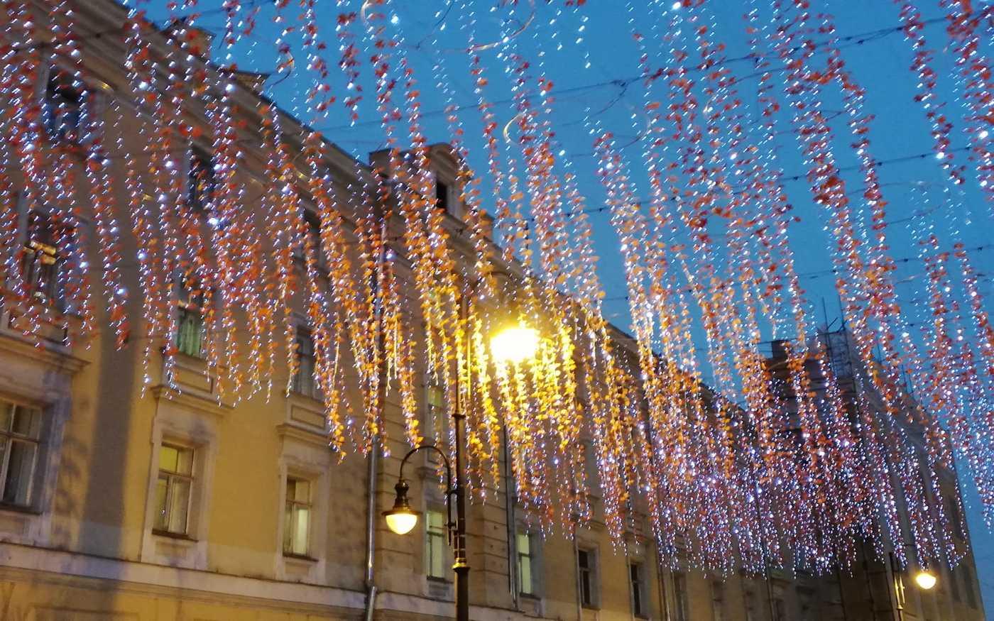 Moskwa - dekoracje świąteczne na ulicy Nikolskiej