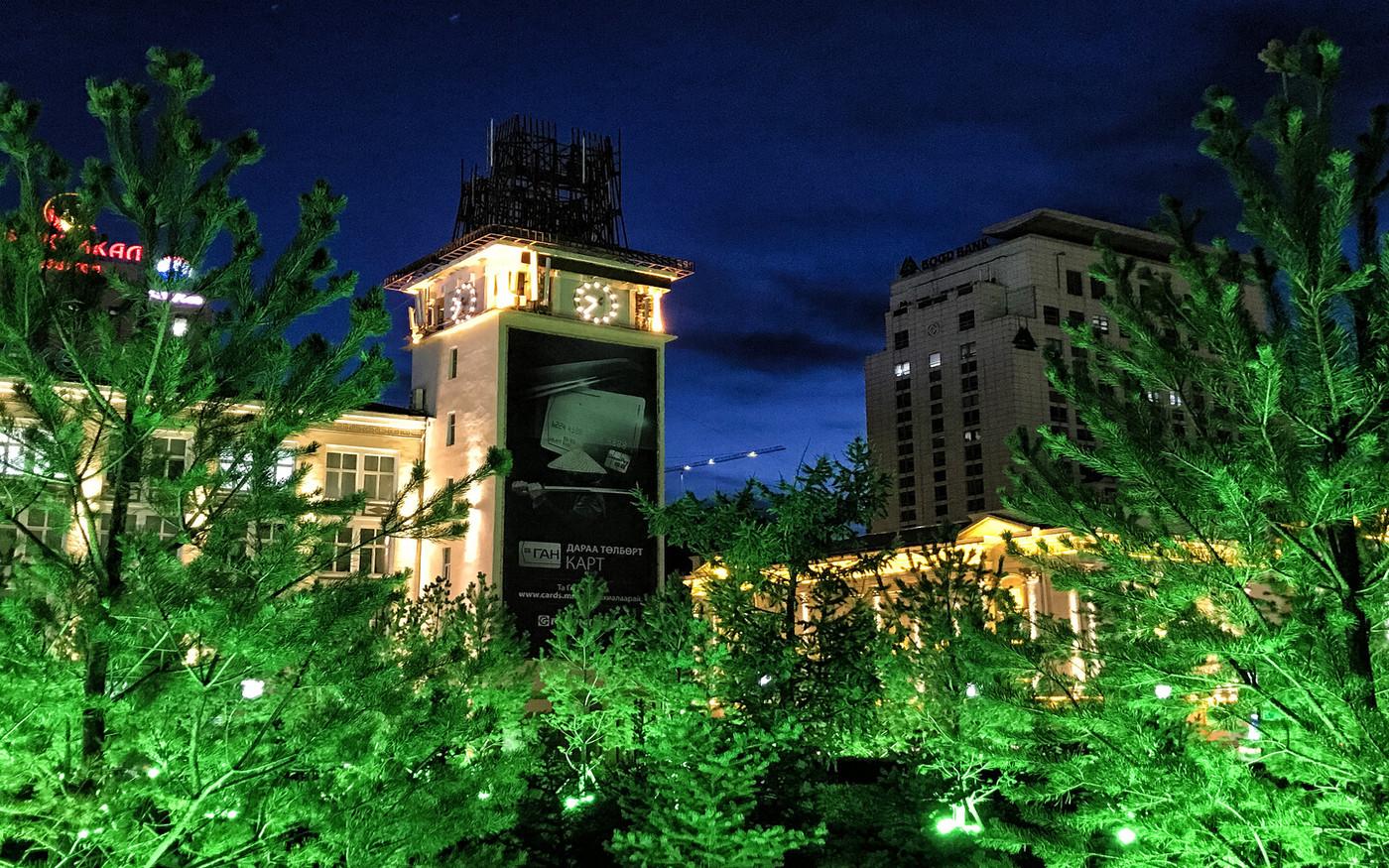 Oświetlona stolica Mongolii